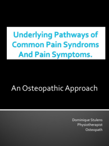 Secret mechanical Pathways to common pain syndrome and pain symptoms (Dominique Stulens)